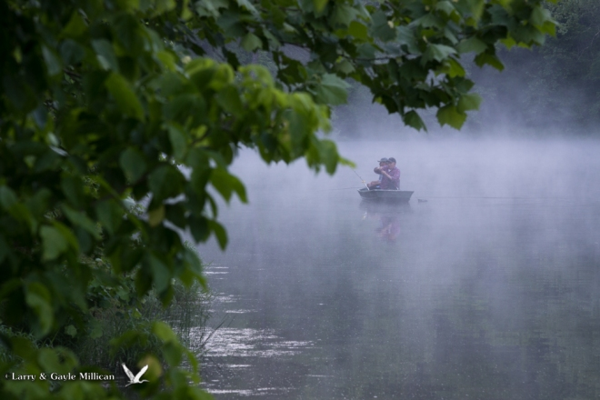 Two fishermen on Black Bass Lake, in the misty fog.