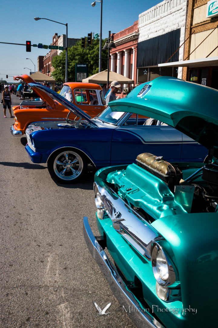 Cars and trucks from the 50's and 60's lined Bristow's Main Street...