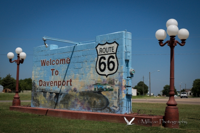Road Sign, welcoming travelers to the small town of Davenport, Oklahoma