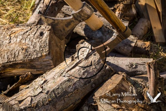 Axes and woodpile