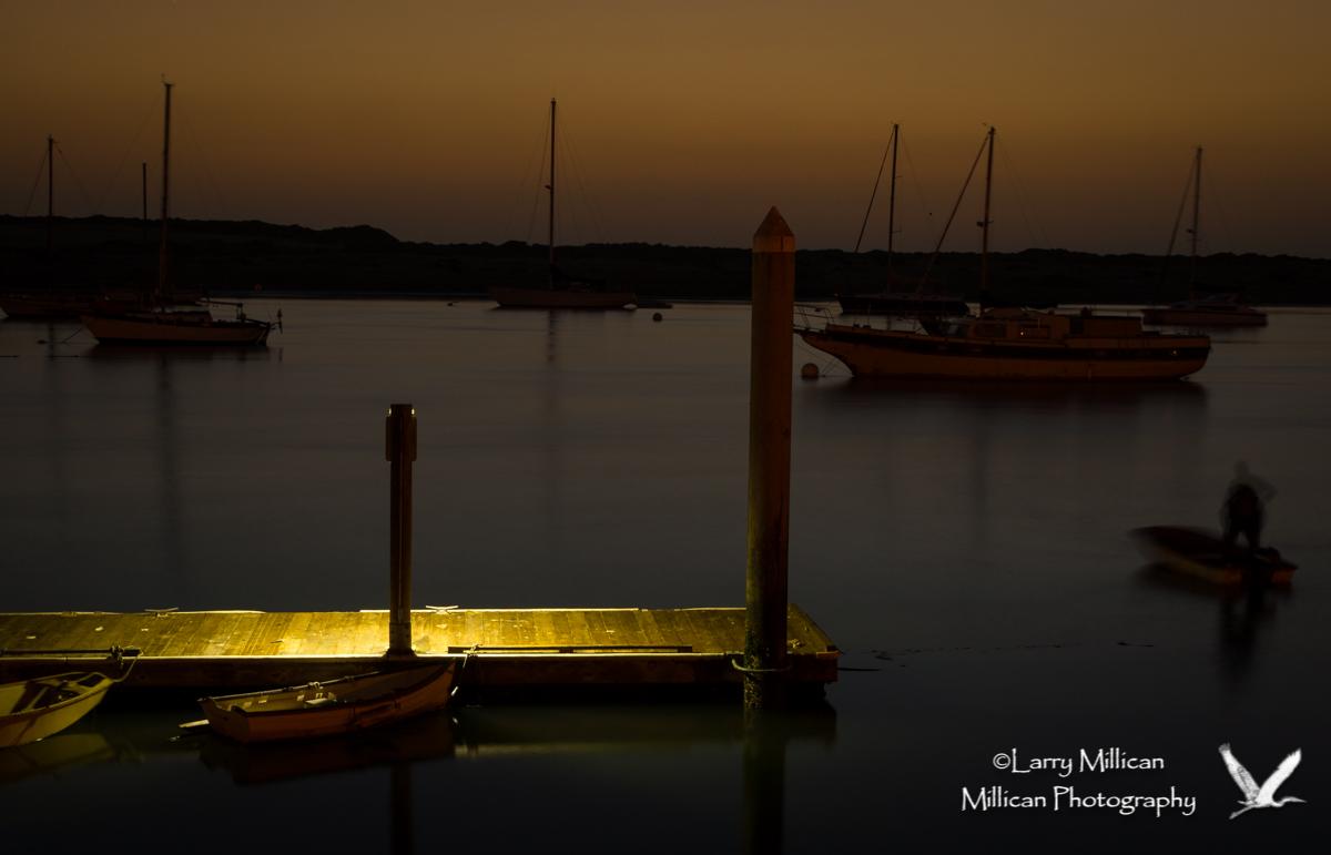 Morro Bay Harbor at dusk.