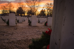 Fort Smith (AR) National Cemetery at sunrise Christmas Morning